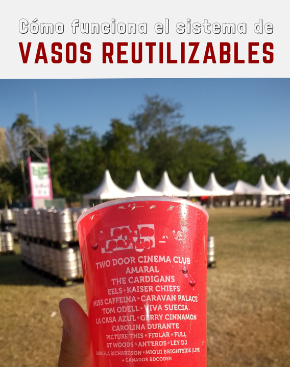 Vaso reutilizable en festival sostenible
